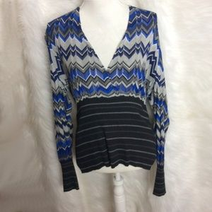 Cache open weave fitted waist top Size XL